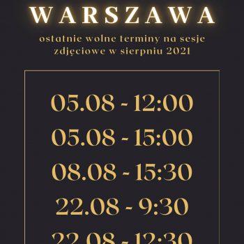 Wolne terminy sierpień 2021 sesje zdjęciowe Warszawa