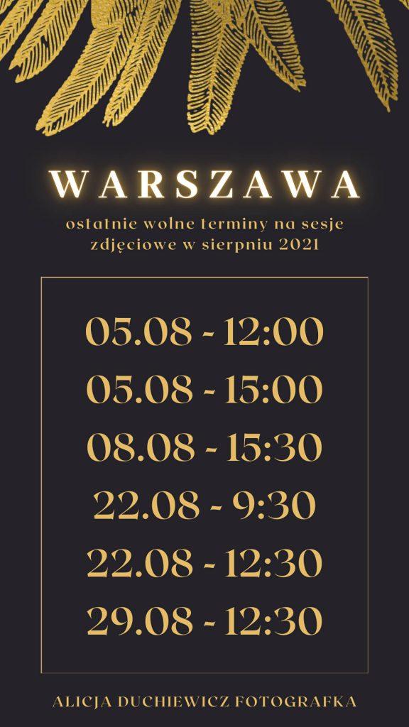Ostatnie wolne terminy na sierpień 2021 w Warszawie. Sesja kobieca, sensualna.